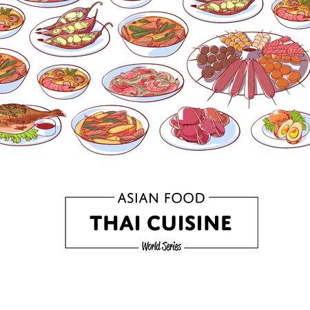 Thai cuisine poster with famous asian dishes. Restaurant menu element vector illustration