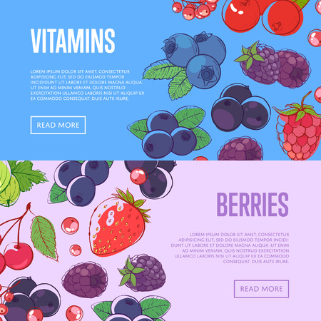 Natural vitamins flyers with berries Illustration