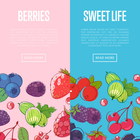 Healthy and sweet food flyers with berries Vettoriali