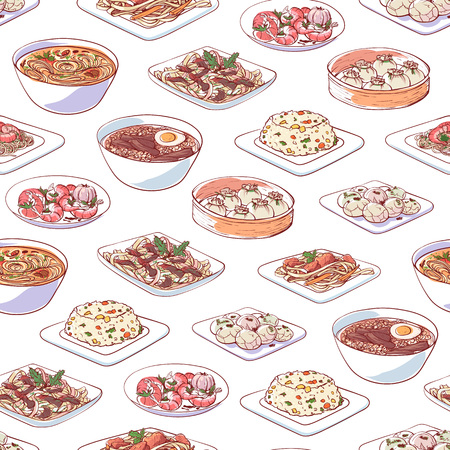 Chinese cuisine dishes on white background. Seamless pattern with dim sum, fried rice with vegetables, marble eggs, noodles with seafoods, ramen soup. Asian restaurant menu element vector illustration Illustration