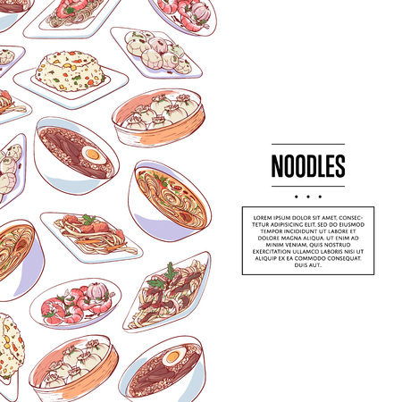 Chinese noodles poster with asian dishes on white background. Dim sum, fried rice with vegetables, marble eggs, ramen soup vector illustration. Restaurant menu element, famous oriental cuisine.