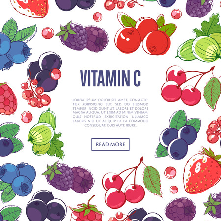 Natural vitamins poster with mixed berries. Supermarket advertising of organic eco products. Ripe raspberry, blackberry, strawberry, gooseberry, currant, blueberry and cherry vector illustration.