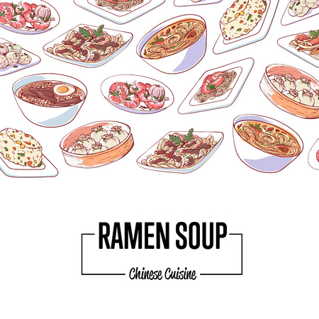 Chinese ramen soup poster with assorted asian dishes. Dim sum, fried rice with vegetables.