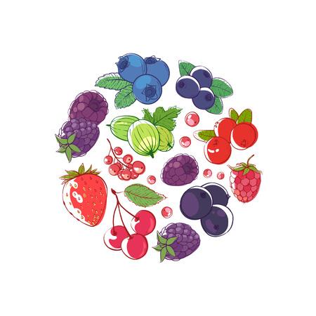 신선한 딸기 라운드 개념 벡터 일러스트 레이 션 스톡 콘텐츠 - 94993343