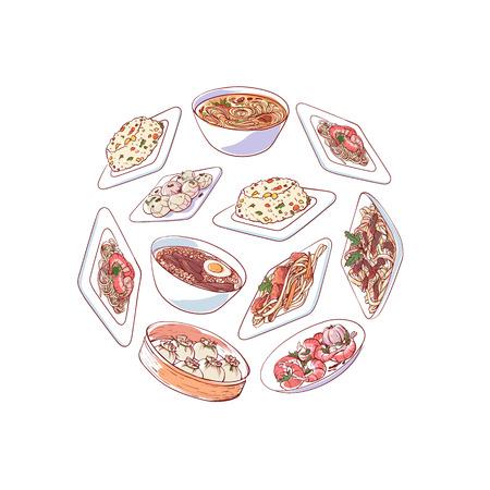 Chinese keukenaffiche met Aziatische schotels vectorillustratie