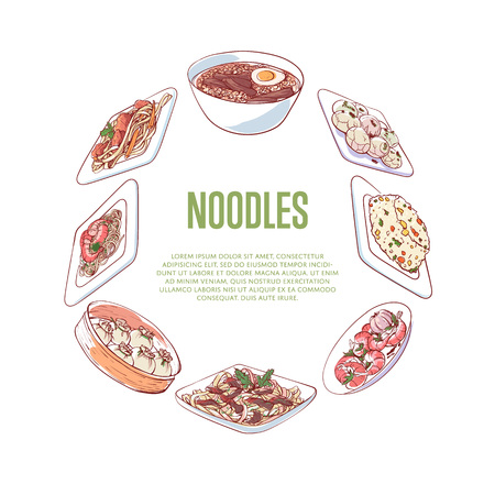 Chinese noodles advertising with asian dishes Stock Vector - 95095869