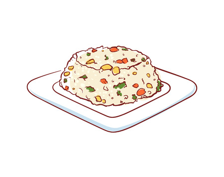 Fried rice with vegetables icon isolated on white background. Illustration