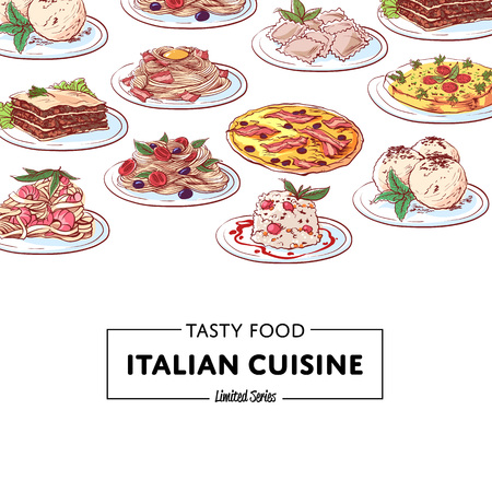 Italian national cuisine dishes poster