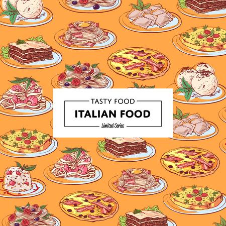 Italian food poster with national cuisine dishes Ilustração