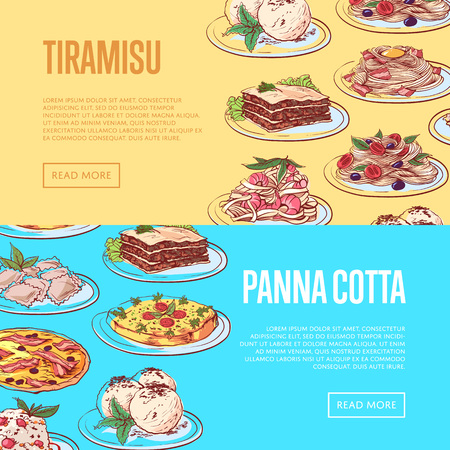 Italian sweet menu flyers with national dishes
