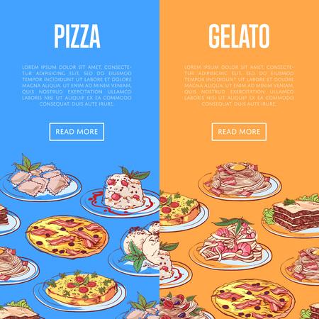 Italian restaurant flyers with national dishes Ilustração