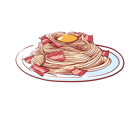 Pasta with bacon isolated vector icon Stock Illustratie
