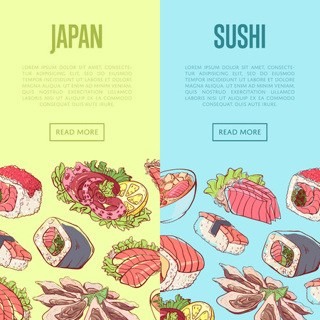 Japanese sushi advertising with famous asian dishes. Oriental delicious food menu vector illustration. Octopus, oysters, tuna, nigiri, sushi roll with shrimps, sashimi with salmon, soup with seafoods. Illustration
