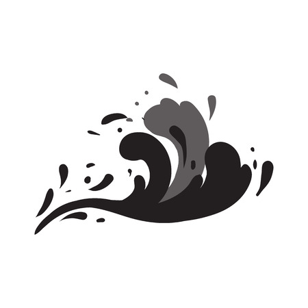 Stormy wave isolated vector icon Illustration