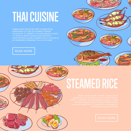 Thai cuisine restaurant flyers with asian dishes