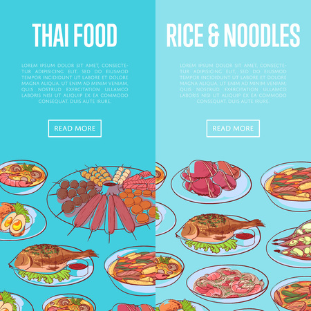 Thai cuisine flyers with asian dishes