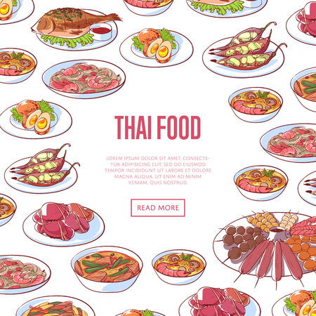 Thai food restaurant advertising with asian dishes Illustration