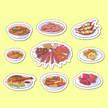 Thai cuisine dishes isolated labels. Restaurant menu element vector illustration. Illustration