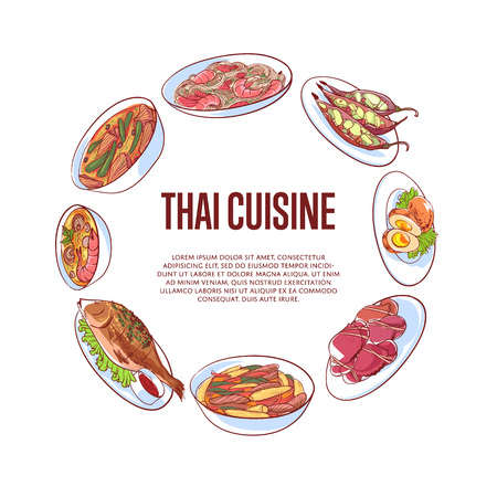 Thai cuisine poster with famous Asian dishes vector illustration.