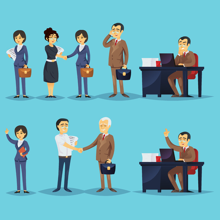 Set of businesspeople and successful entrepreneurs Vector illustration.