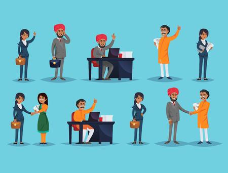 Illustration vectorielle avec des entrepreneurs indiens masculins et féminins travaillant dans le monde des affaires. Vecteurs