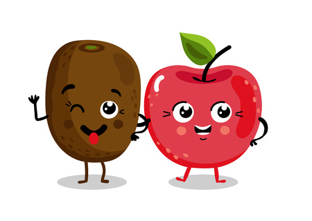 Funny fruit isolated cartoon characters
