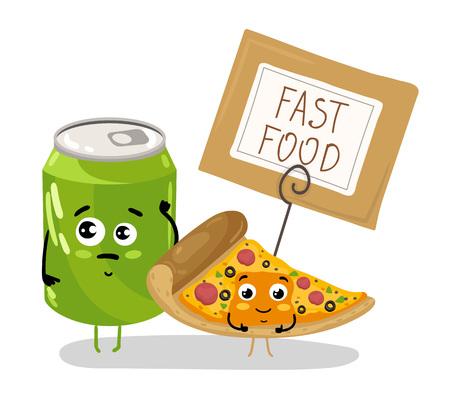 Funny pizza slice and soda can cartoon character Banco de Imagens