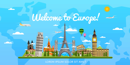 Welcome to Europe poster with famous attractions Stock Photo