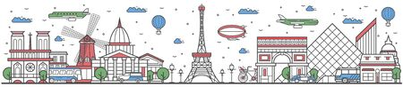 Travel in Paris city line flat design banner