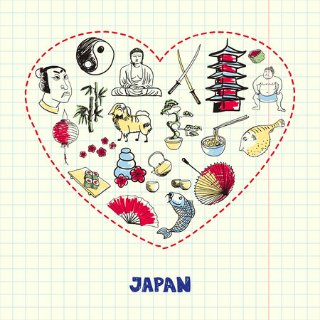 Japan Symbols Pen Drawn Doodles Colorful Collection Stock Photo