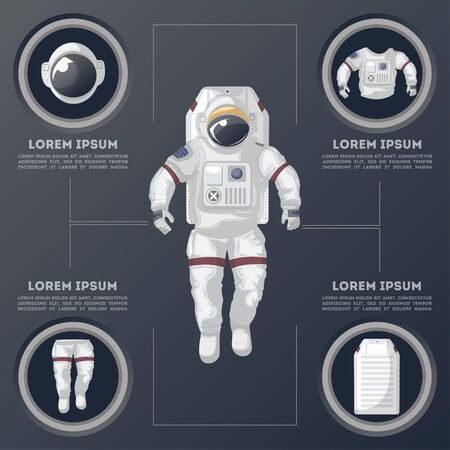 Details of modern space suit infographics Vector illustration.