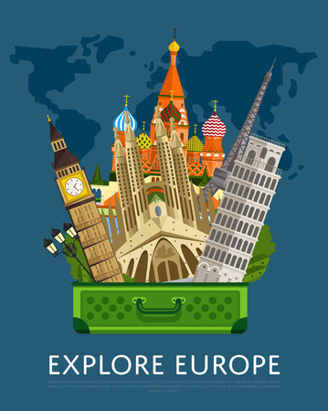 Explore Europe banner with famous attractions.