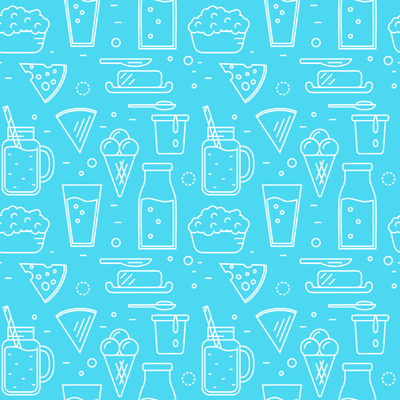 Dairy seamless pattern in line style design