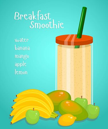 Lunch Smoothie Flat Design Colorful Concept