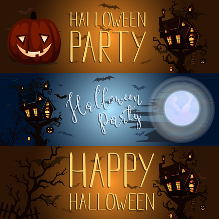 halloween party banner with spooky castle stock photo 97390767