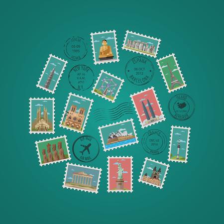 Stamps with famous architectural compositions Foto de archivo