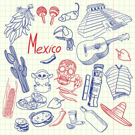 Mexico Symbols Pen Drawn Doodles Colorful Collection