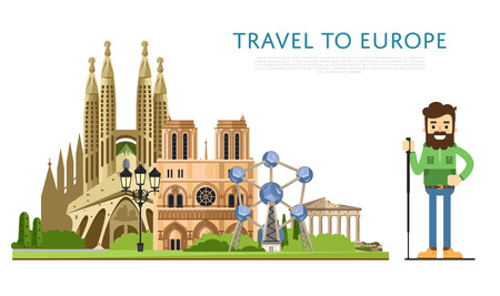 Travel to Europe banner with famous attractions