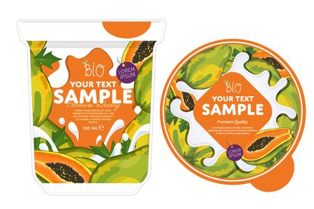 Papaya Yogurt Packaging Design Template.