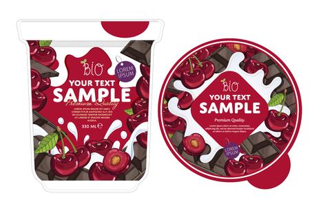 Cherry chocolate Yogurt Packaging Design Template.
