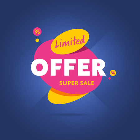 Limited special offer badge vector flat design style. Colorful abstract promo label or tag.