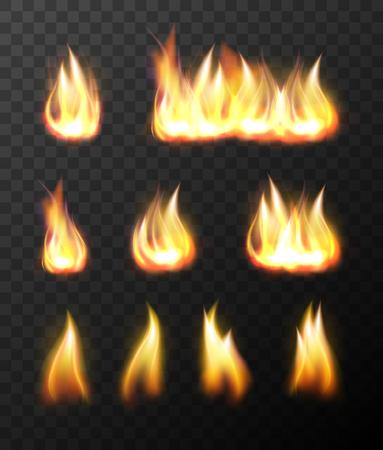 Realistic fire flames transparent set special effect element vector illustration
