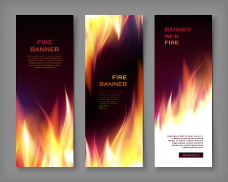 Fire flame banner set Vector illustration. 일러스트