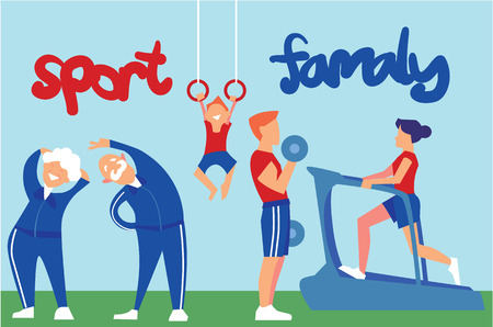Sport Family Vector Concept in Flat Design