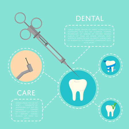 Dental care banner with medical instruments