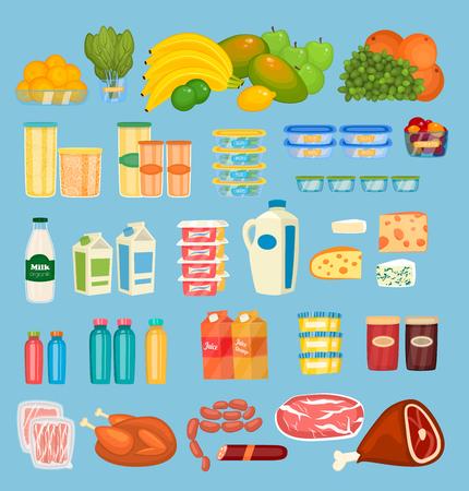 Ensemble de vecteurs de produits alimentaires quotidiens au design plat