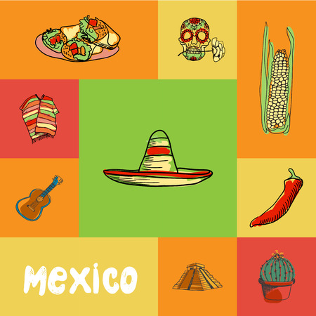 Mexico squared doodle vector concept.