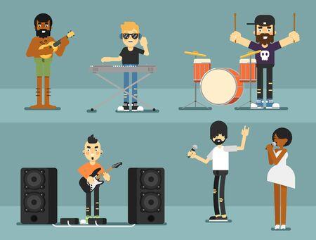 Groupe de rock groupe de musique avec des musiciens Banque d'images - 98117334