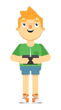 Boy holding radio remote controler 写真素材