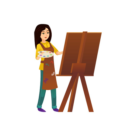 Painter woman in a working mood in front of an easel
